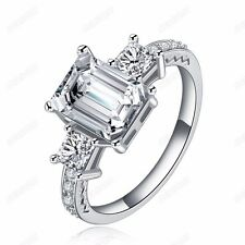 Fashion 18K White Gold Plated Cubic Zirconia Band Ring Women Christmas Gift 6-9
