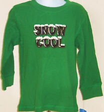 Gymboree Boy's Snow Tracks SNOW COOL Green Thermal Shirt Size 6-12 Months