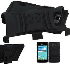 LG Optimus L7 P705 P700 Hard Core Black ARMOR Case stand and Belt Clip Holster