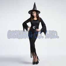 Adult Women Sexy black witch Ladies Fancy Dress Cosplay Costume Halloween Outfit