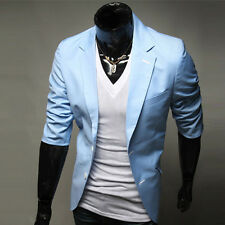 Formal Mens Stylish Coat Jacket Slim Fit Suit Two Button Business Casual Blazer