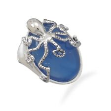 Fashion Octopus Ring with Blue Agate Stone