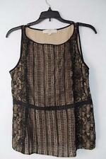 Ann Taylor Loft Regular or Petite Black/Nude Lace Sleeveless Blouse Top New $79