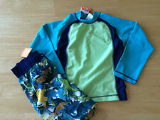 NWT Gymboree Boys Dinosaur Swimsuit Rash Guard Swim trunk Set 6,8 Swim Shop