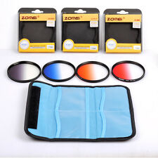 82mm Graduated Filter Kit Gray Orange Blue Red Gradual Filter for DSLR Camera