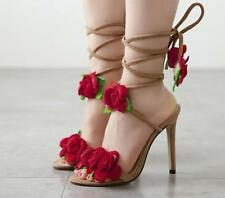 women's stiletto flower strappy sandal open toe lace up fashion high heel shoes