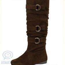 Brown Knee High Winter Fashion Womens Boots Flat Low Heels Faux Suede Buckle