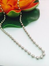 12 X 4 mm OR 6 mm Silver Bead Ball Chain Necklace - Unisex