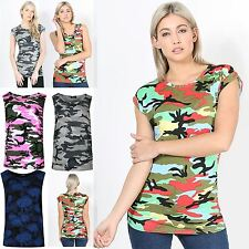 Womens Soft Army Camouflage Printed Sleeveless Top Ladies Jersey Viscose Vest