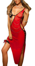 Red Sexy Lingerie Lady's Womens Seductive Underwear Night Club Dress Long Skirts
