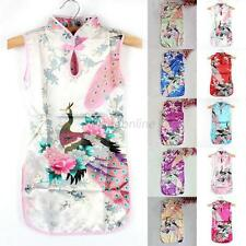 Kids Baby Girls Chinese Qipao Vintage Retro Floral Peacock Cheongsam Mini Dress