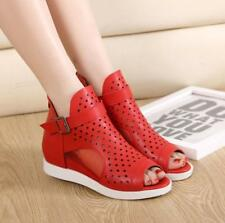 Womens Open Toe Sandals Mesh Buckle Ankle Boots Wedge Heels Hollow Out Shoes New