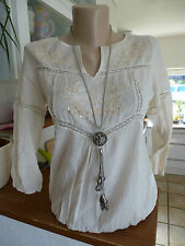 Aniston Tunic Blouse Size 34 - 44 Cream with sequins & embroidery NEW