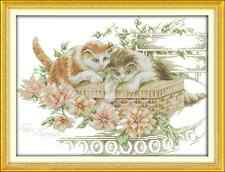 Kit broderie point de croix imprimé/compté,11CT/14CT,Flowers /cats ,Cross Stitch