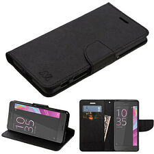 For Sony Ericsson Xperia XA / X Leather Flip Wallet Case Cover Stand Pouch Black