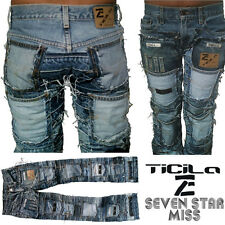 Ticila SEVEN STAR MISS Phat Beach Skirt Club Hand made Special Edition JEANS WoW