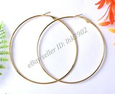 10pcs Silver Gold Plated Metal Large Round Hoops Earrings Findings