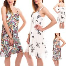 Womens Ladies Sleeveless Chiffon Camisole Printed Swing Strappy Vest Dress Tops