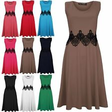 Womens Ladies Sleeveless Waist Lace Insert Franki Skater Midi Dress Plus Size