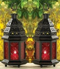 "2 RED GLASS MOROCCAN CANDLE LANTERNS - 10 1/4"" HIGH - BLACK - IRON & GLASS"