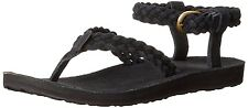 TEVA women's SANDALS Original Suede BRAIDED Ankle Strap Buckle BLACK size 10 nib