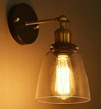 Modern Industrial Vintage Rustic Sconce Brass Indoor Glass Wall Lamp Wall Light
