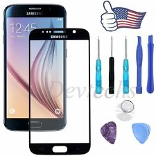 Replacement Front Outer Screen Glass Lens for Samsung Galaxy S6 Black + Tool Kit