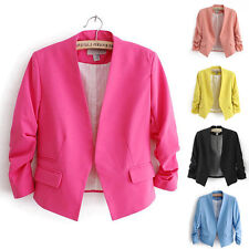 Womens CANDY COLOR Fashion Slim Blazer Jacket Basic Coat Formal Tops Slim Fit