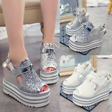 Womens sequin slingback sandals platform wedge high heels peep toe casual shoes