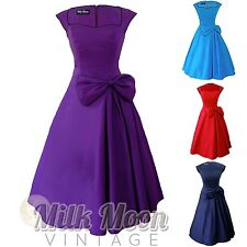 Vintage 1950s 1960s Black Red Blue Swing Rockabilly Prom Evening Party Dress