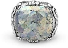Ornate Large Square Roman Glass Ring 925 Sterling Silver