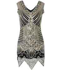 1920s Flapper Mini Dress Art Deco Great Gatsby Vintage Sequin Cocktail Party2