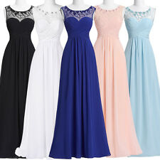 Sexy Long Chiffon Bridesmaid Evening Prom Dress Formal Gowns Ball Party Cocktail