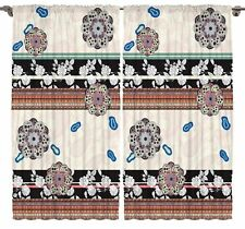 Flowers Patchwork Living Room Curtains 2 Panel Set  Silky Satin Window Treatment