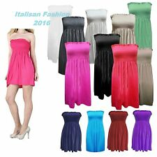 Womens Sheering Boob Tube Gather Bandeau Top Summer Mini Dress  Strapless Top.