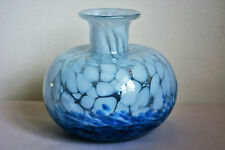 Rare Mdina Mtarfa Large Heavy Art Glass Squat Vase Beautiful Blue