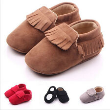 Baby Brown Soft Sole Tassel Suede Leather Shoes Boys Girl Toddler Moccasin 0-18M