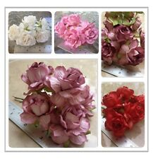 50 Artificial Mulberry Paper flowers Handmade Scrap-booking Tiny Rose 45 mm