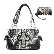 Western Concealed Carry Cross Leopard Handbag With Matching Wallet in 3 Colors