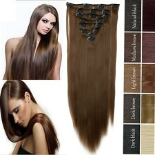8Pcs Full Head Clip In Hair Extension Wave Straight Synthic Hair AS Human H713