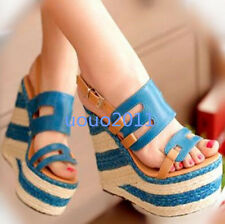 2016 Roman Sandals Super High Straw Wedge Heel Open Toe Platform Womens Shoes Sz