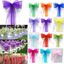 50pcs Organza Chair Cover Sash Bow Wedding Party Reception Banquet Decor