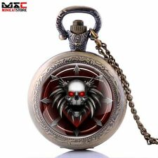 Retro Vintage Skull Head Antique Pocket Watch Pendant Necklace Quartz Chain Gift