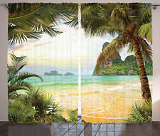 Palm Coconut Trees and Ocean Waves on Paradise Island Image Shower Curtain Set