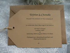 50 x PERSONALISED HANCRAFTED A6 WEDDING AND/OR EVENING RUSTIC LABEL INVITATIONS
