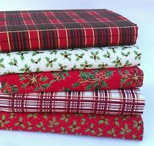 CHRISTMAS TARTAN HOLLY FABRIC REMNANTS 5 PCE BUNDLE 100% COTTON RED GREEN CREAM