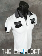 "BRAND NEW Mens PREMIUM DESIGNER Contemporary T-Shirt White Black Trim ""SLIM FIT"""