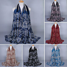 Fashion Women Ladies Voile Flower Scarf Soft Wrap Long Shawl Muffler Cotton