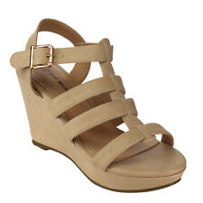 Top Moda CD30 Women's Comfort Platform Strappy Sling Back Wedge Sandals BEIGE