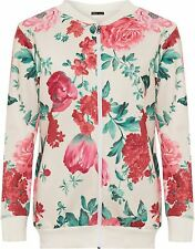 New Ladies Plus Size Cream Floral Print Zip Up Ribbed Bomber Blazer Jacket 14-28